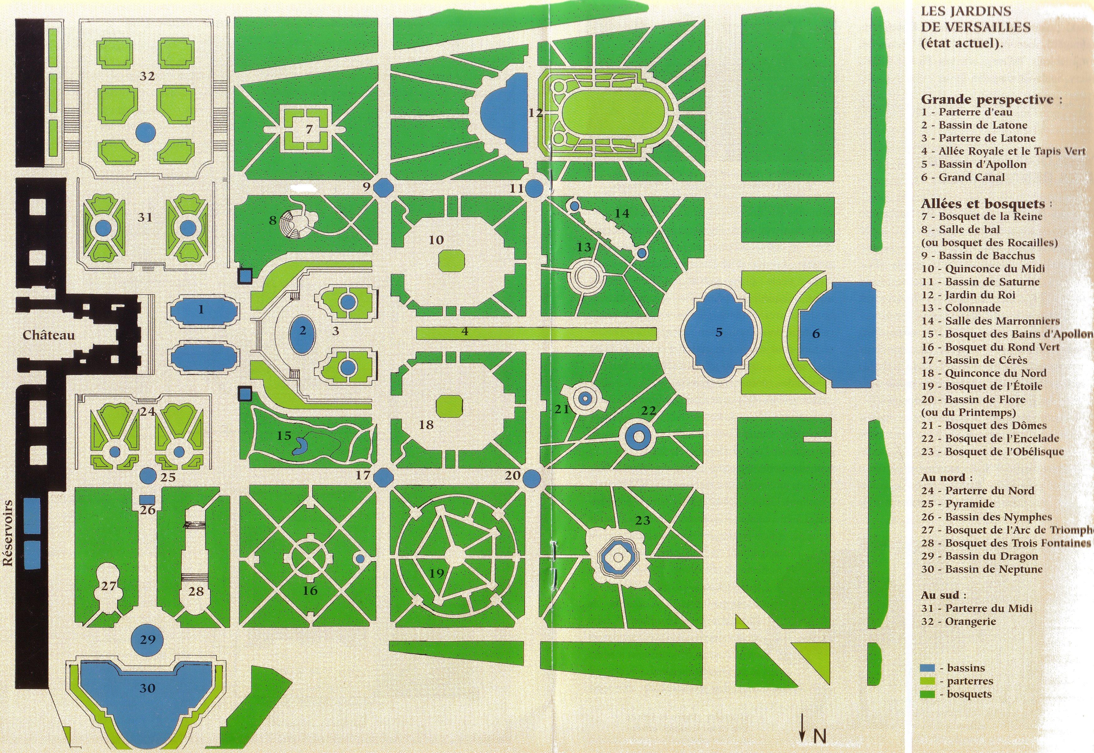 Plan parc chateau de versailles