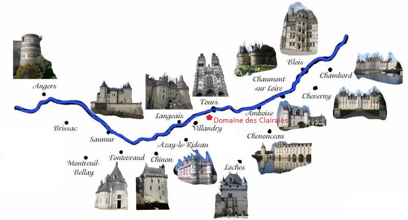 Carte des chateaux de la loire - chateau u montellier